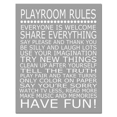 Great Wall Art: Playroom Rules - 11x14 Quote Print - Modern Nursery Childrens Decor - Kids Wall Art - Choose Your Colors via Etsy #littlenest #pinparty