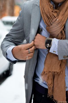 simple elegant brown scarf with gray sports coat and light blue shirt + sleek watch