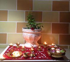 Tulasi Pooja - 2014 Tulasi Plant, Festival Decorations, Table Decorations, Ganesha Rangoli, Diwali Diy, Rangoli Designs Diwali, Pooja Rooms, Indian Festivals, Hare Krishna
