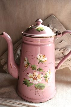 French enamelware coffee or teapot -- pink--flowers--fancy---beautiful--shabby chic