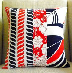 18 x 18 Pillow Cover - Vintage Red, White and Blue Nautical Patchwork