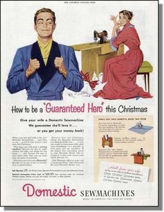 1951 Christmas Hero Domestic Sewing Machine Print Ad | eBay