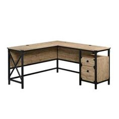 Add a wonderful appeal to your dwelling by using this SAUDER Steel River Milled Mesquite L-Shaped Desk.