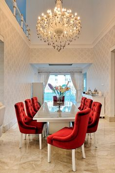 Red chair the eye catcher Catcher, Dining Room, Eye, Chair, Stool, Dining Room Sets, Dining Rooms, Chairs