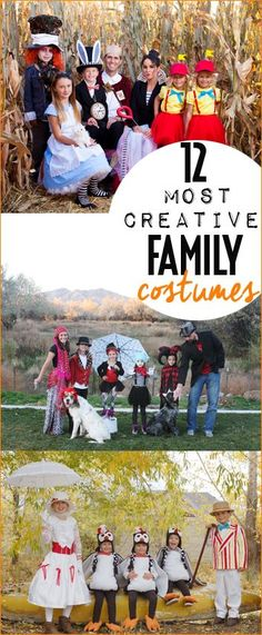 12 Most Creative Family Costumes.  DIY Halloween costumes to fit an entire family.  Fun homemade costumes that will suit your family for Halloween and Trick or Treating.  Disney inspired family costumes. Circus, Marry Poppins and Alice in Wonderland family themed costumes. The Greatest Showman costumes.
