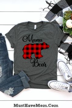 Trendy Buffalo Check Mama Bear Shirt is my FAVE plus it pairs with a Baby Bear tee or baby bear onesie for a cute mommy and me set! Mama Bear Shirt, Buffalo Plaid Shirt, Christmas Shirts, Christmas Presents, Christmas Decor, Vinyl Shirts, Textiles, Mommy And Me, Cute Shirts