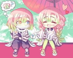 Oh dear obanai got obsessed with sakura mochi too! Credit to artist, the people who pinned this, and obanai's snake! This is so cute! Now they are hair buddies! -----------Do you like obanai🐍? Demon Slayer, Slayer Anime, Anime Chibi, Light And Misa, Sakura Mochi, Film D'animation, Cute Posts, Kirito, Kawaii Drawings