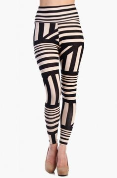 OMG ABSTRACT STRIPED LEGGINGS