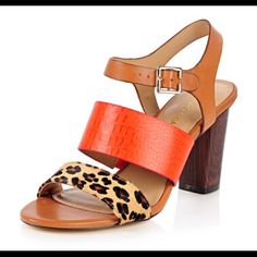 """ARTURO CHIANG """"GYPSEY"""" Leather & Calf Sandals ARTHURO CHIANG """"GYPSEY"""" Natural/Tangerine Mini Leopard Pony Leather SandNEW in BOX. SOLD OUT Arturo Chiang Shoes Sandals"""