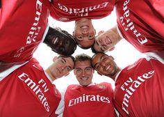 Thomas Vermaelen, Bacary Sagna, Kieran Gibbs, Laurent Koscielny, Theo Walcott and Nicklas Bendtner. Arsenal training ground.