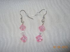 Pink and Clear Beaded Earrings by anthonycreations on Etsy, $5.00