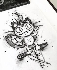 Desenho criado pelo artista brasileiro Rodrigo Assi de Balneário Camboriú. Clique para conhecer outros trabalhos incríveis desse tatuador. #desenho #drawing #art #arte #tattoo #tatuagem Tattoo Sketches, Tattoo Drawings, Art Sketches, Art Drawings, Cartoon Character Tattoos, Cartoon Tattoos, Pokemon Sketch, Pokemon Fan Art, Sick Drawings
