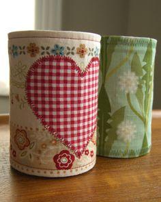 fabric ideas like... a soup can sleeve. myheritagefabrics.wordpress.com