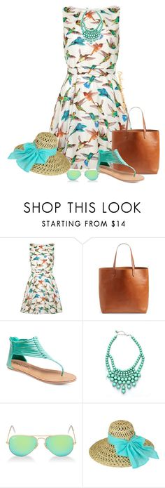 """Summer Bird Print Dress"" by oribeauty-cosmeticos ❤ liked on Polyvore featuring Mela Loves London, Madewell, Wet Seal and Ray-Ban"