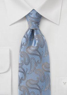 Krawatte Paisleymotiv taubenblau