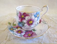 """Royal Albert  """"Cosmos""""  Flower of the Month Tea Cup and Saucer #10 October, Royal Albert Violet Blue Floral Bone China - England"""