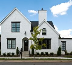 Delightful Black Windows home designing tips Traditional Exterior Nashville White Paint House, White Stucco House, White Brick Houses, White Exterior Houses, White Brick Walls, Exterior House Colors, Painted White Brick House, Black Windows Exterior, Cafe Exterior