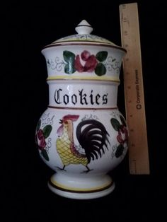 ROSES AND ROOSTERS Tall COOKIES CANISTER VINTAGE JAPAN