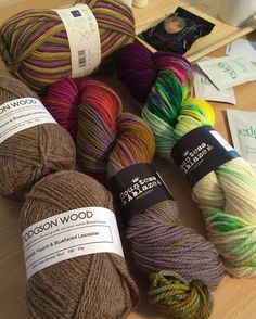 my #yarnshopday purchases -  from @countessablaze incredible hand-dye cheviot and from @brityarn some lovely @dodgson_wood CMM/BFL and some new @westyorkshirespinners #cocktail signature sock. it was such a blast and so pleased to finally make it to the studio!