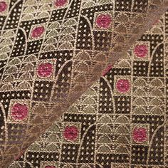 Art Deco Art Nouveau Brown Flat-Weave Curtain and Upholstery Fabric | Backhausen Art Deco Rosenbogen (Arched Roses) Plum from Loome Fabrics