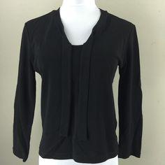 DKNY Woman's Black VNeck Shirt P | eBay