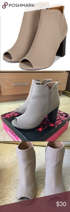 Open toe booties Taupe open toed booties with some signs of wear but can be cleaned off. Comes with box. Qupid Shoes