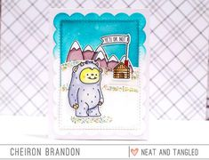 Time for Day 1 of the October Neat and Tangled release and what a fun week it's going to be. Today's set features a totally adorable Yeti. I colored in the yeti, mountains and. Neat And Tangled, Cute Cards, Christmas Cards, Christmas Ideas, Nerdy, Snowman, Stencils, Flag, Scrapbook
