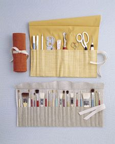 Art-Supplies Organizer - For that artist on your list.  Easy instructions for making a roll-up organizer.