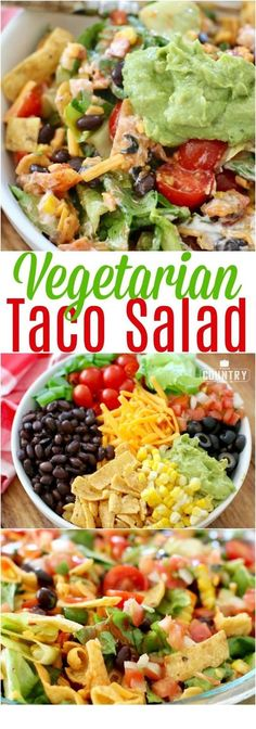 Veggie Frito Taco Salad - This Veggie Frito Taco Salad is SO good and filling. Lettuce, tomato, black beans, cheese, Fritos and a delicious dressing!  == CLICK THROUGH TO SEE! == | Vegetarian | Vegetarian Recipes | Vegetarian Meals  | Vegetarian Recipes Dinner | Vegetarian Meal Prep | Vegetarian Dinner | Vegetarian Recipes Healthy | Vegetarian Recipes Easy | Vegetarian Recipes High Protein  | #tulul