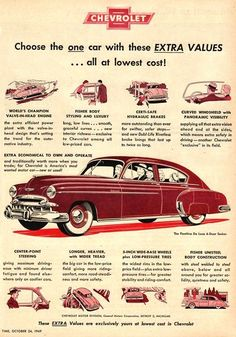 Vintage Cars Classic 1949 Chevrolet - our first brand new car - Chevy, Vintage Advertisements, Vintage Ads, Vintage Dress, Motos Vintage, Car Posters, Car Advertising, Us Cars, Vintage Posters