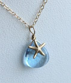 Swarovski Crystal Starfish Necklace, Sky Blue, Aqua, Baby Blue, Beach Wedding Jewelry, Bridesmaid Necklace, 14k gold fill, Bridal Necklace. $32.50, via Etsy.