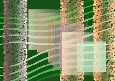 Composition on dark green background