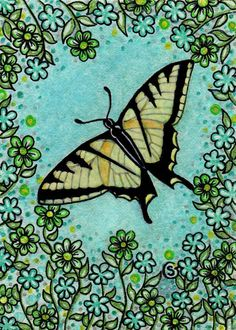Butterfly Bug ACEO Original Watercolor Flower Yellow Swallowtail Goeben #Miniature
