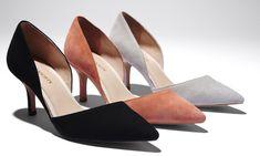 Suede heels in black, coral and grey.