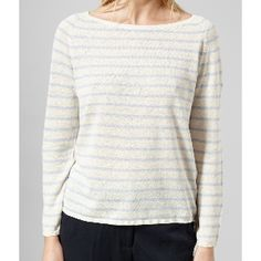 Selected Femme Xenon Blue Sfnive Stripe Knit Noos Pullover: A lightweight fine knit from Selected Femme with straight cut and boat neckline. It has a horiztontal stripe that compliments the design rather than overpowering it, making this a solid choice to wear from the office through to drinks with the girls! It also has a lovely linen blend for great breathability.