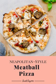 This Neapolitan-style Meatball Pizza recipe is an easy way to get delicious pizzaria-style pizzas in your own home. Includes a recipe for pizza sauce no-knead pizza dough and easy baked Italian meatballs. Lunch Recipes, Healthy Dinner Recipes, Cooking Recipes, Healthy Meals, Meatball Pizza Recipes, No Knead Pizza Dough, Baked Italian Meatballs, Making Homemade Pizza, Pizza