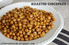 Yummy Roasted Chickpeas! (recipe here)  naturally fat free, cholesterol free snack