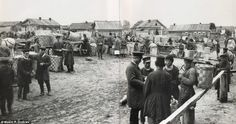 People gather at a marketplace in 1897. Dmitriev travelled the length of the Volga river to take his photographs