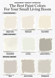 9 Paint Colors to Try If You Have a Small Living Room- We have a big livingroom but I like the neutrality of these colors. Best Paint Colors, Bedroom Paint Colors, Paint Colors For Living Room, Wall Colors, Paint Colours, Benjamin Moore Wish, Benjamin Moore Cloud White, Tiny Living Rooms, Living Room Designs