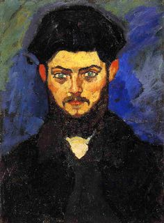 """Maurice Drouard by Amedeo Modigliani  Portrait of Maurice Drouard, 1909. """"His compelling study in blacks and strong background blues heightens the effect of Drouard's almost hypnotically blue-eyed stare."""""""