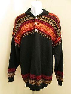Vitabella Norwegian 100% Wool Mohair Sweater Mens Size L Norway Multi-Color