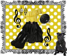 """""""black and yellow polka dot : pugstyle"""" by samanthachristine1 ❤ liked on Polyvore"""