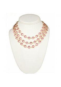 Pink and Gold Three Strand Necklace 24$ birthday