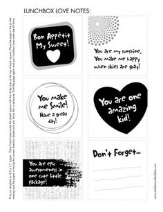 love a good lunch box note :-)  Free template to make Post-it Note lunchbox love notes.