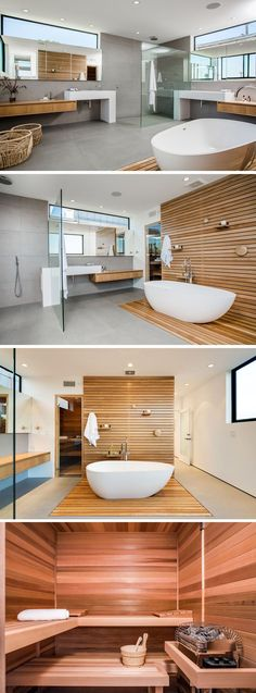 In this master bathroom, wood features throughout the space as a backdrop for the bath, in the bathroom vanities and in the sauna.