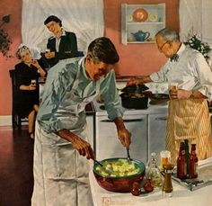 Men's Night in the Kitchen by Douglass Crockwell - 1956