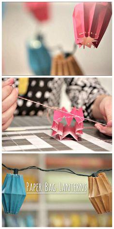HGTV Crafternoon: DIY Paper Lantern String Lights (http://blog.hgtv.com/design/2014/05/20/diy-paper-bag-lanterns-string-lights/?soc=pinterest)