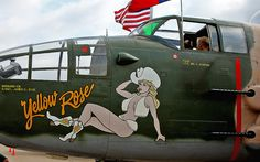 B-25 Yellow Rose Nose Art, via Flickr.