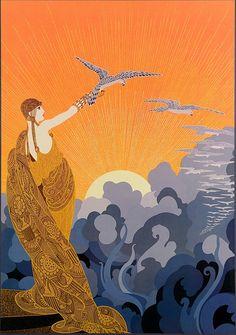 Another beautiful depiction of the sun. Artist: Erté; Description: Circle Gallery Poster; Title: WINGS OF VICTORY (STUDY FOR LES AILES DE LA VICTOIRE). Alternative Title: Golden Eagle.