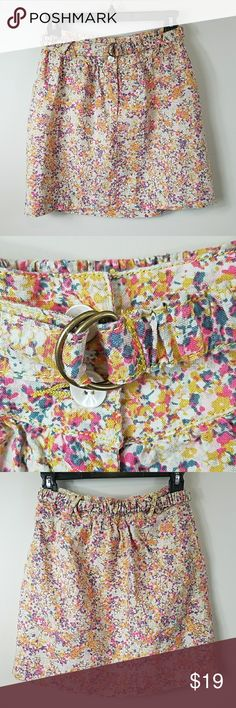"""Urban Outfitters Kimchi Blue Vintage Floral Skirt Urban Outfitters Kimchi Blue Vintage Floral Linen Skirt.  Size small.  Pretty lightweight floral skirt in shades of pink, gold, tan, and dark blue.  Comes with matching D-ring elastic belt.  Zip and button front closure. 12"""" across the waist.   16"""" long. 100% Linen. Urban Outfitters Skirts Mini"""